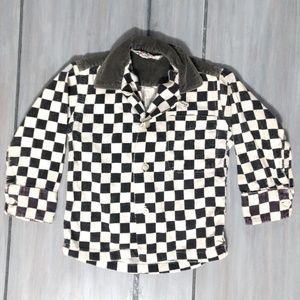 Lucky boy juvenile 3 black white corduroy shirt